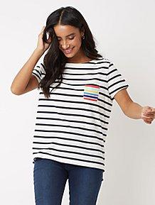 17ca74cbdab692 Black and White Striped Chest Pocket T Shirt