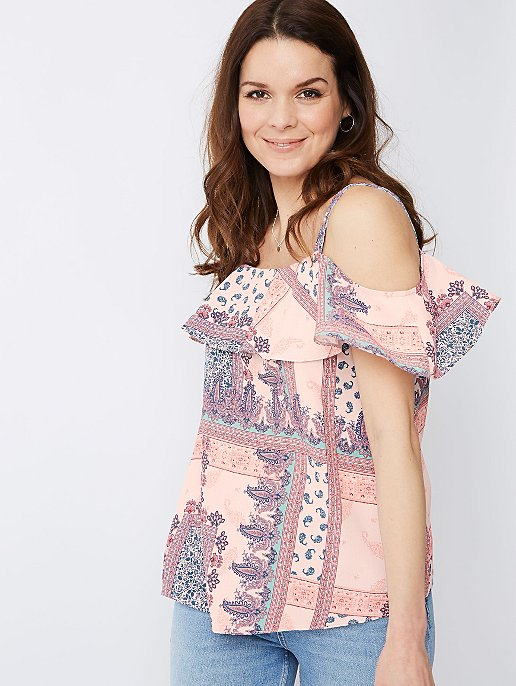 bee0d170133f4a Pink Paisley Print Cold Shoulder Top   Women   George