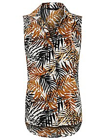 3758691edbbaf Palm Print Woven Shirt