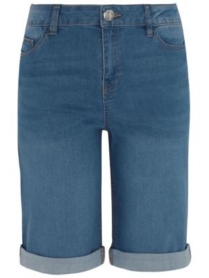 Light Wash Denim Knee Length Shorts