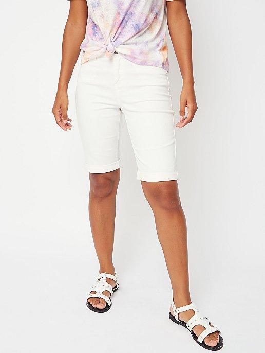 half price good looking new appearance Ivory Knee Length Denim Shorts | Women | George