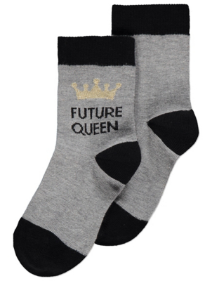 Grey Future Queen Slogan Ankle Socks