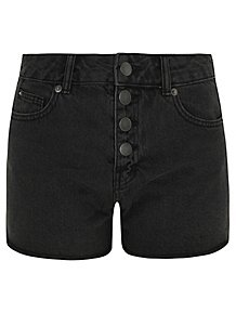 824aed4adbc9 Black Washout Buttoned Denim Shorts