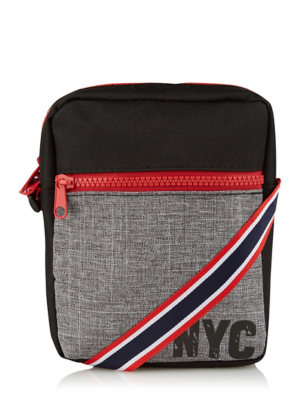 Grey and Red NYC Flight Bag