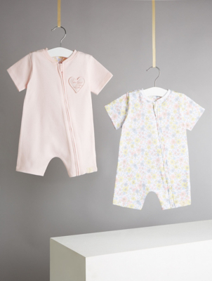 Billie Faiers Floral Print Jersey Rompers 2 Pack