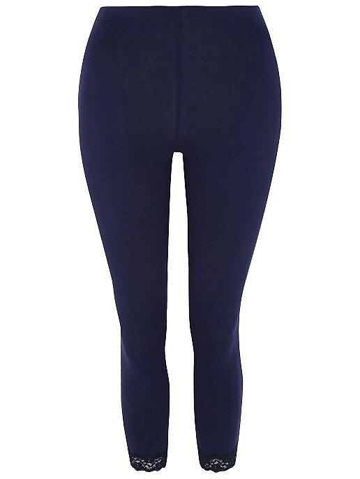 76c1dc1f524c5 Navy Cropped Lace Trim Leggings | Women | George