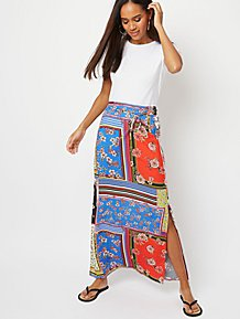 74d81a04c382 Blue Mixed Floral and Stripe Print Maxi Skirt