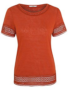 b70fdf7bed3 Burnt Orange Crochet Trim T-Shirt