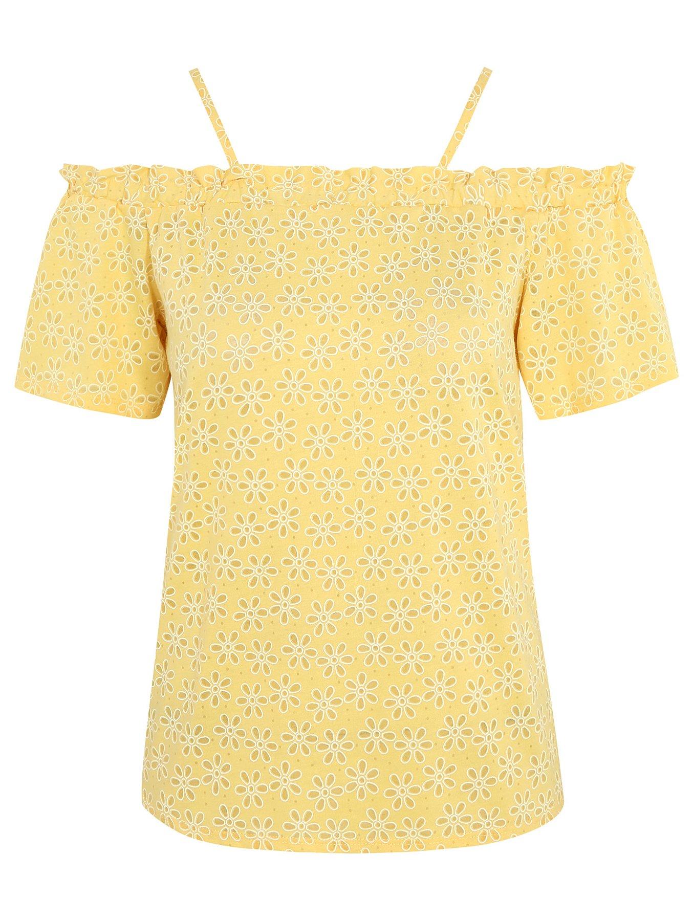 7223307b37f Yellow Floral Burnout Bardot Top