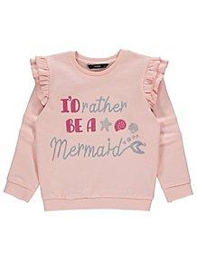 085443c71fa2 Pink Glitter Sequin Slogan Frill Sweatshirt