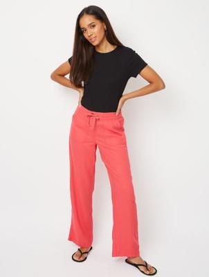 Pink Linen Blend Trousers