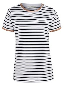 e31ba32eb3c4 White Striped Foil Trim T-Shirt