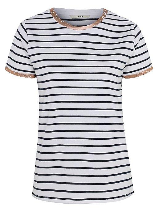 d8c86be0f White Striped Foil Trim T-Shirt