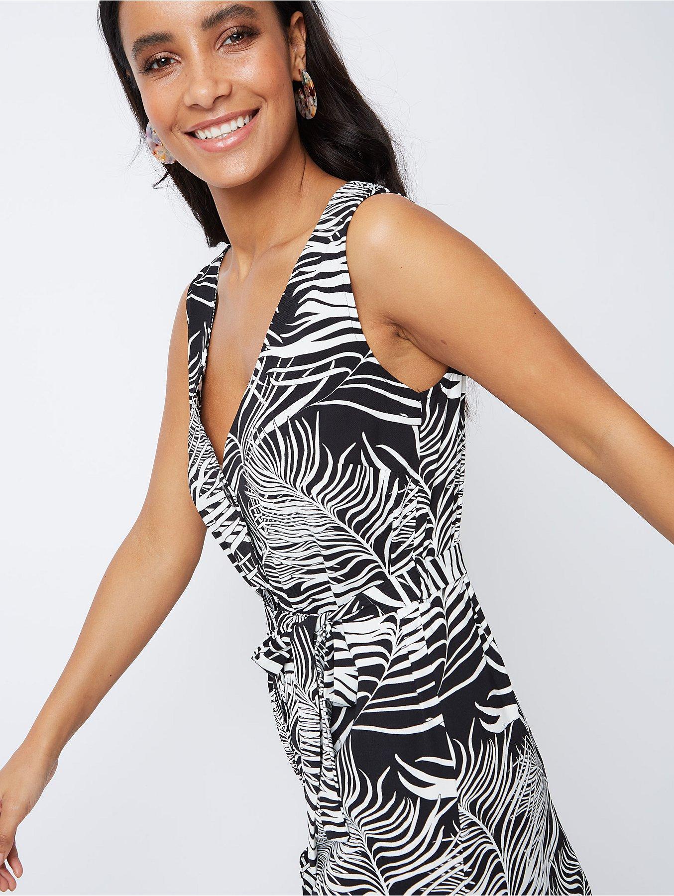 91e88d6714d Black Palm Print Belted Button-Front Midaxi Dress. Reset
