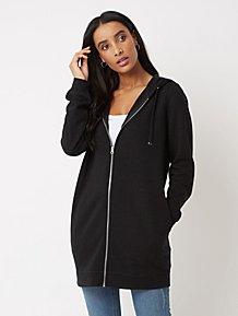 953ee121071 Black Zip Up Longline Hoodie