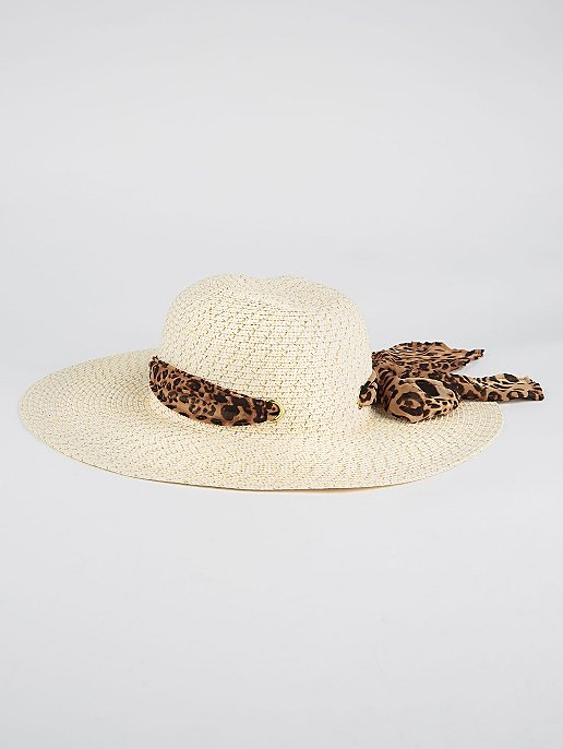 08dd13fe4 Straw Floppy Hat with Leopard Print Scarf Trim
