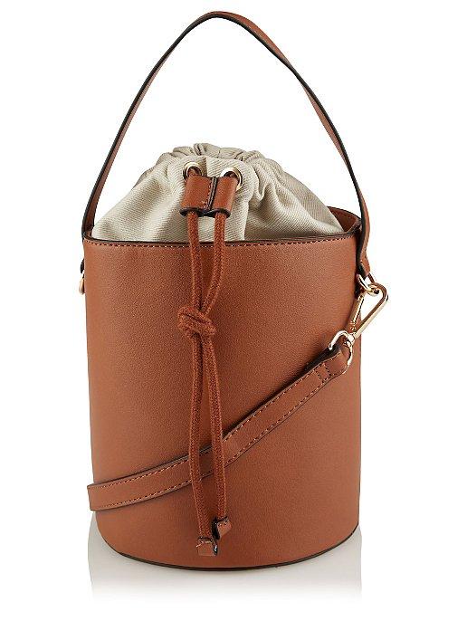 Tan Drawstring Bucket Bag