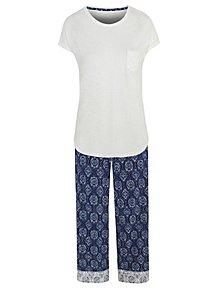 7cf41709028f Blue Floral Print Cropped Leg Pyjamas