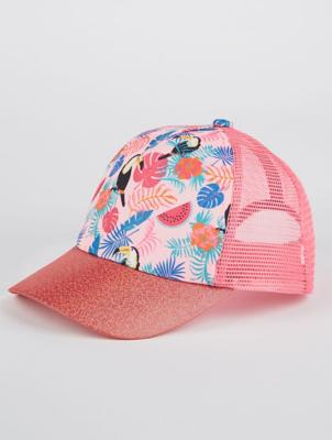 Pink Shimmering Tropical Print Cap