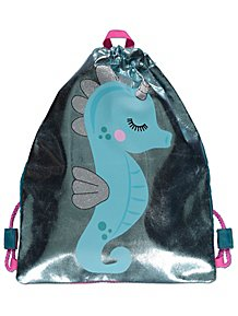 ea04399d0376e Blue Metallic Seahorse Drawstring Swim Bag