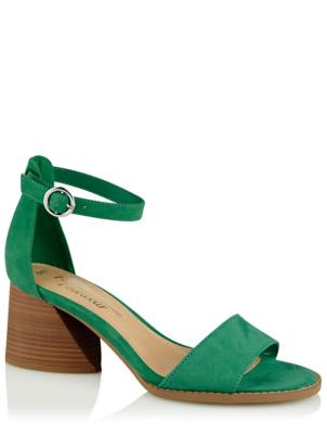 Green Suede Effect Block Heel Ankle Strap Sandals