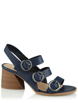 Navy Three Buckle Block Heel Sandals