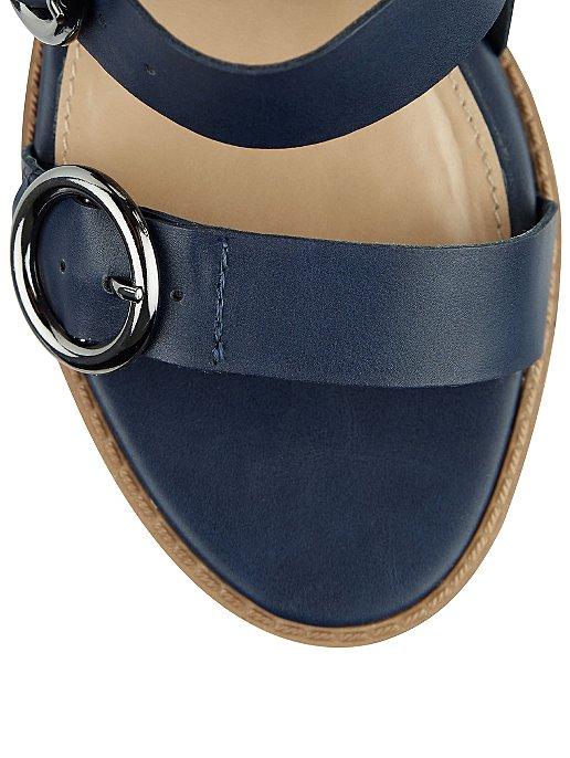 9faa997e3a38b Navy Three Buckle Block Heel Sandals | Women | George