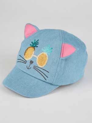 Denim Pineapple Cat Cap