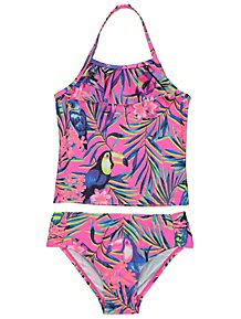 0e6a80c0b2 Neon Pink Tropical Tankini Top and Bottoms Set. £5