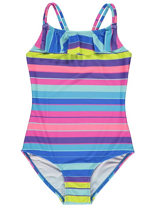 306359d8cb9da Striped Ruffle Swimsuit   Kids   George