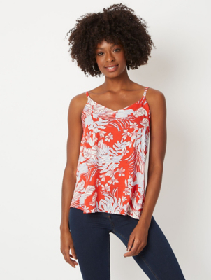 Red Floral Print Camisole Top