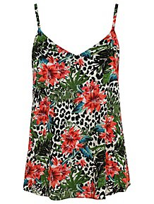 19041d09b37904 Animal Print Floral Camisole Top