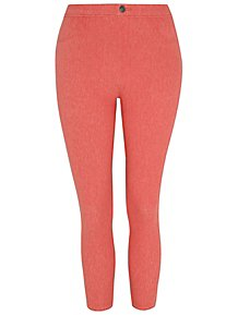 ef7e4c0e98d5 Coral Red Woven Cropped Trousers