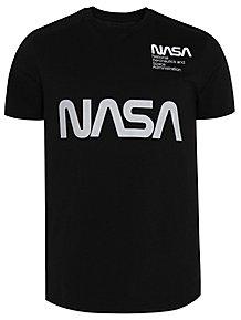 Black NASA Reflective Print Short Sleeve T-Shirt 08793618f0921