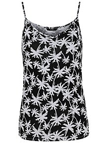 607aabeae8f40 Black Palm Print Jersey Swing Camisole Vest