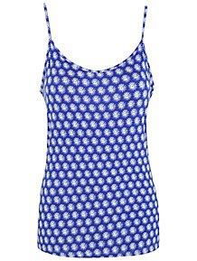 a96ea6e2972c9 Blue Floral Jersey Swing Camisole Vest