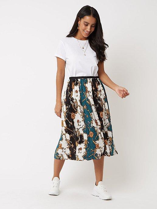 6a74d58320 Chain Print Pleated Midi Skirt | Women | George