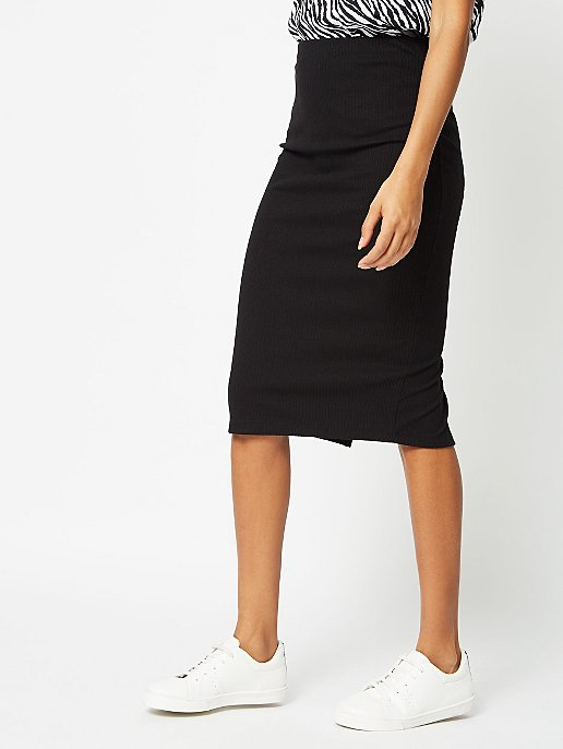7614770a4 Black Ribbed Texture Pencil Skirt | Women | George