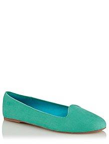dba80a25e9 Jade Green Faux-Suede Ballet Slipper Shoes