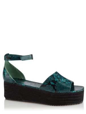 Green Snake Print Platform Sandals