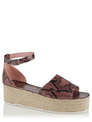 Pink Snake Print Platform Sandals