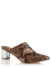 ceec982b4e9 Snakeskin Print Mirrored Heel Sandals