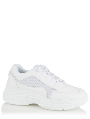 White Chunky Tab Laced Trainers