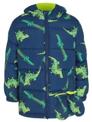 Blue Dinosaur Print Coat and Mittens