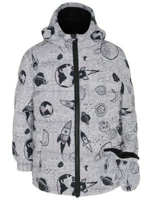 Grey Space Print Padded Coat and Mittens