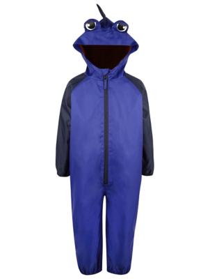 Blue Shark Print Puddle Suit