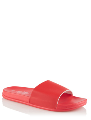 Red Faux Leather Pool Sliders