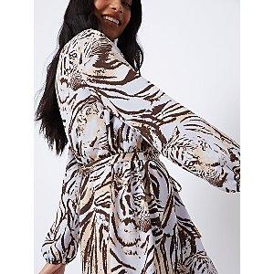 Tiger Print Tie Belt Midi Dress