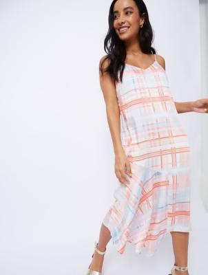 Pink Check Asymmetric Slip Dress