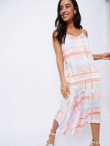 7a04765efcd Pink Check Asymmetric Slip Dress